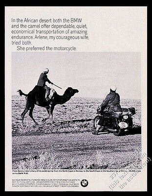 1967 BMW R60 motorcycle Danny Liska & camel photo vintage print ad