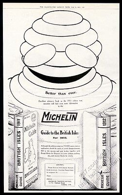 1912 Bibendum Michelin Man BIG art Michelin tires vintage print ad