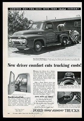 1955 Ford F-100 stepside pickup truck 4 photo vintage trade print ad
