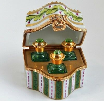 Limoges Limited Edition Green & Gold Perfume Chest with 3 Mini Jeweled Bottles