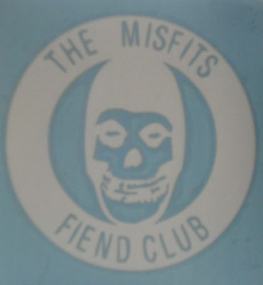 "The Misfits Fiend Club Skull White Logo Decal 5 3/4"" Across New"