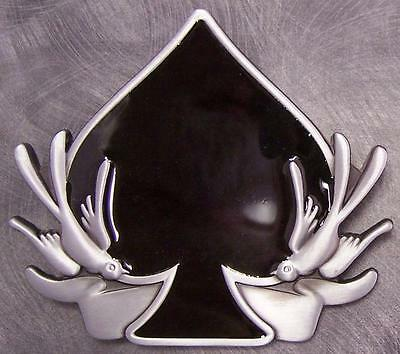 Pewter Belt Buckle Gamble Poker Ace of Spades NEW playing card