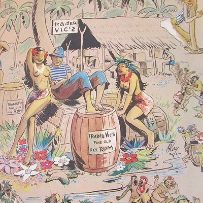 Trader Vic's Bar Drink Menu Hawaiian Art South Seas Bel Air Hilton STL 1970