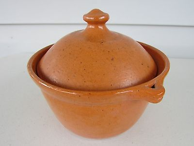 NC Jugtown Ware Stamped Orange Glazed Storage Pot Canister w/ Lid