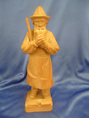 """Old Man wood carving pipe smoking 10"""" high light color wood one piece primitive"""