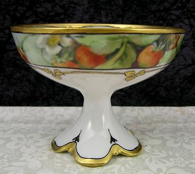 (7) Antique Limoges Hand-Painted Strawberries Porcelain Punch Bowl Cup