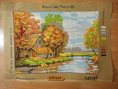 Vintage Royal Paris Needlepoint Canvas #14162: KRUGER:: Fall L'Automne : New