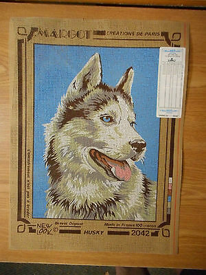 Vintage MARGOT Needlepoint Canvas #2042: DOG Husky:Creations De Paris: New
