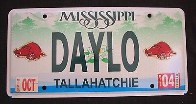 """MISSISSIPPI  VANITY License Plate """" DAYLO """" DAY LO DAYLIGHT LOW LIGHTING"""