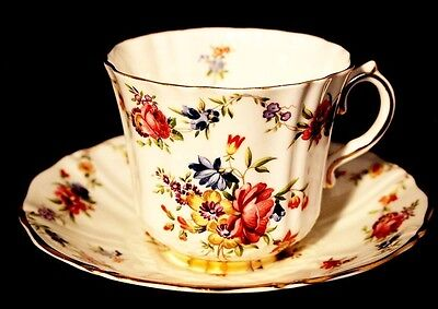 Sampson Smith Old Royal Bone China Tea Cup And Saucer. Hand Painted Floral Patte