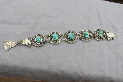Silvertone Reticulated Link Bracelet w/ Scarab look Turquoise Pieces AB53
