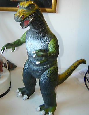 large Dor Mei Godzilla figure  Green + Yellow   WORKING SOUNDBOX 1980's exc con