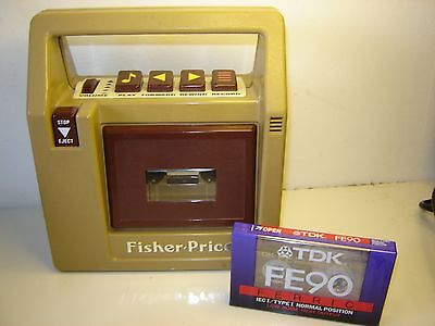 Vintage 1980s Fisher Price Toys Cassette Recorder / Player with tape exc con
