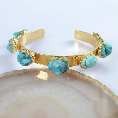 Freeform Rough Natural Genuine Turquoise Bangle Gold Plated H94914