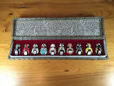 10 Miniature Chinese Opera Masks In A Display Box Painted Japanese Asian