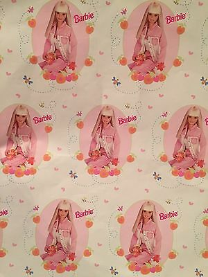 "Barbie Wrapping Paper 1998 2 Sheets 20""X28"" Pink Matel"