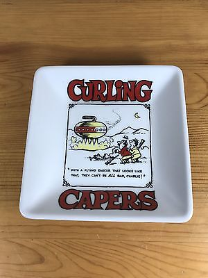 "Curling Capers Dish Ashtray Comic Rock Vintage 5""X5"" Funny Sweep Broom"