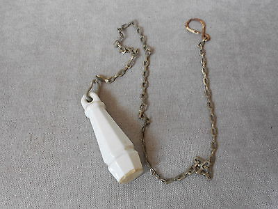 """ANTIQUE French Porcelain  TOILET PULL HANDLE 3.75"""" + its chain"""