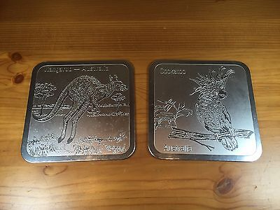 Set of 2 Australia Coasters Cockatoo Kangaroo