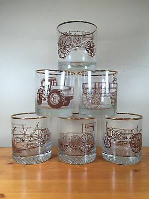 Set Of 6 Tractor Whiskey Glasses Tumblers McCormick Formal Gold Trim Bar Scotch