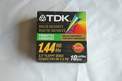 "Sealed TDK 3.5"" Floppy Disks High Density Formatted 1.44MB New 10 Pack"