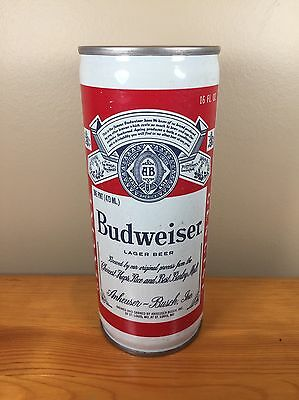 Vintage Beer Can Budweiser 16oz Anheuser Busch Tall Boy King Steel Pull Tab