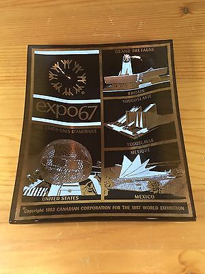 Vintage Expo 67 Glass Plate Montreal Canada World's Fair Change Dish Ash Tray