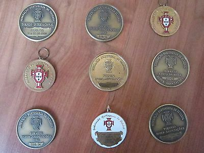 9 x OFFICIAL PORTUGAL FOOTBALL FEDERATION PLAYERS TOURNAMENT MEDALS (1990-2008)