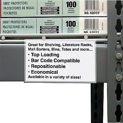 C-Line Best Value Peel and Stick Shelf/Bin Label Holders, Inserts Included, 3 x