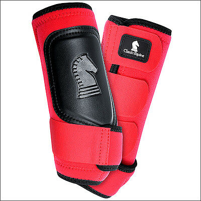 Small Classic Equine Crossfit Neoprene Horse Front Leg Protection Boots Pair Red