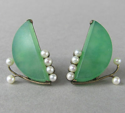 Antique 1920s Art Deco statement Earrings with apple green Jadeite & seed Pearls