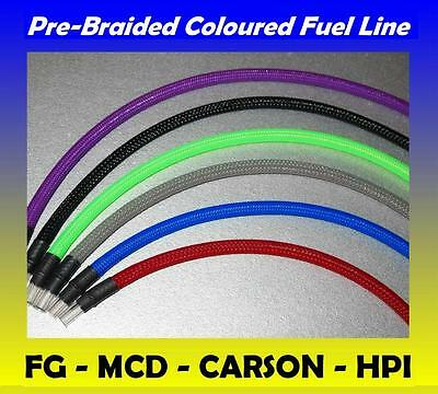 Braided Fuel Line Various Colours FG MARDER LOSI HPI BAJA ROVAN Petrol Tube Pipe