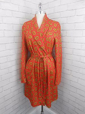 Vintage 1960s Men's Orange & Yellow Paisley Retro Dressing Gown House Coat 40