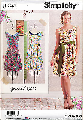 Simplicity Sewing Pattern 8294 Misses 6-14 Vintage Inspired Gertrude Made Dress