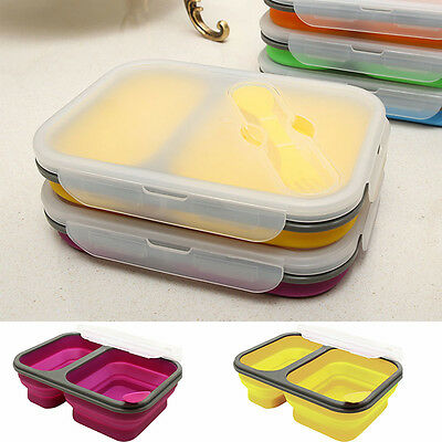 Travel Portable Silicone Collapsible Food Storage Container Folding Lunch Box