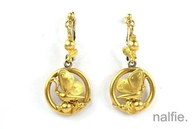 PRETTY ANTIQUE LATE VICTORIAN ENGLISH 15ct GOLD BUTTERFLY DROP EARRINGS c1880