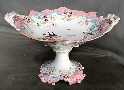 Antique Pink Bittersweet EARLY Porcelain Chinoiserie Compote Worcester BIRD asis