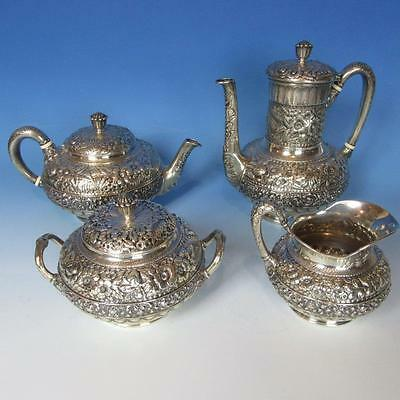 Tiffany Sterling Silver Repousse Coffee Set - Teapot, Coffeepot, Creamer, Sugar