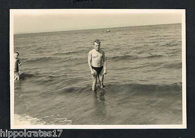 FOTO vintage PHOTO, Mann Strand handsome man beach gars beaux homme /36-5