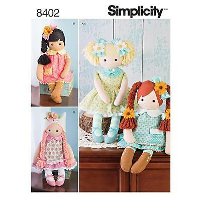 """Simplicity Sewing Pattern Misses' 23"""" Stuffed Dolls With Clothes 8402"""