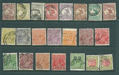 AUSTRALIA - George V Roos and Heads USED stamp collection