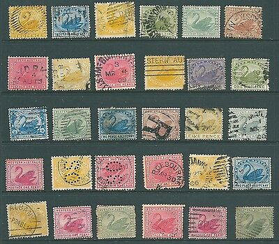 WESTERN AUSTRALIA - Unchecked stamp collection of 'Swans'