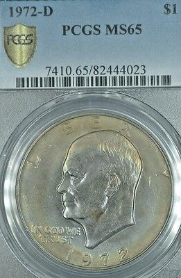 1972-D  PCGS MS65 Ike  Eisenhower Dollar in Secure Plus ~Attractive Toning!~