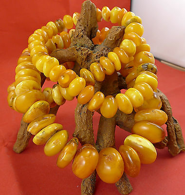 237,9 Gramm natural Baltic Butterscotch Amber Bernstein Kette Necklace antik