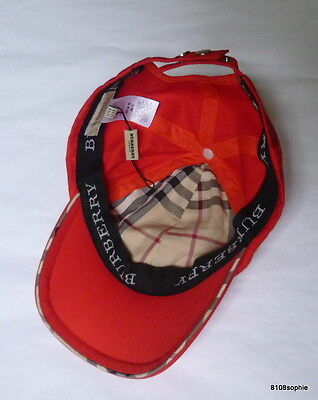 BURBERRY Casquette baseball cap one size rouge  NEUF