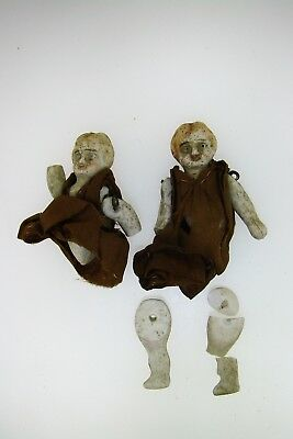 Antique Pair Of Miniature Baby Porcelain Dolls Jointed Pinned Limbs Painted Face