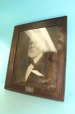 Wooden Framed Signed General Robert E. Lee Sepia Tone Portrait Print Painting