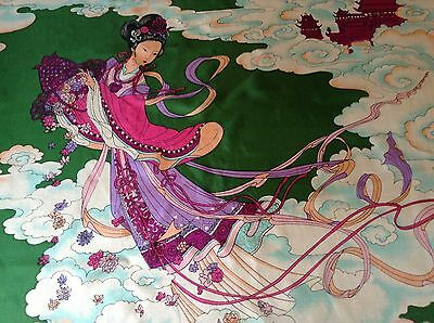 VINTAGE HAND ROLLED SILK SCARF.  THE GEISHA!  29 x 28 INCHES.  BEAUTIFUL!