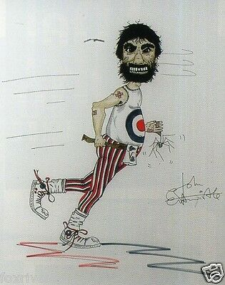 John Entwistle Signed Drawing Print - 'Keith Moon' 7x5 - The Who - Preprint