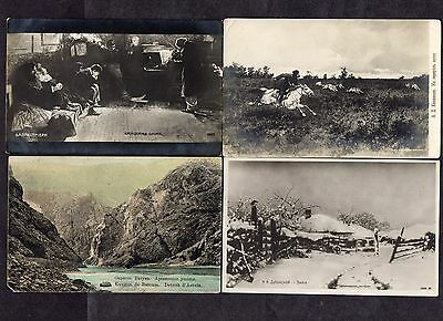 RUSSIA. 4 x DIFFERENT EARLY BLACK & WHITE POSTCARDS.(3 x PAINTINGS SCENES)